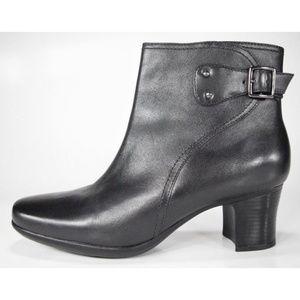 Clarks Black Leather Buckle Side Zip Booties MINT